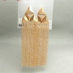 Golden Triangle Tassle Earrings
