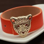 Leopard Head PU Leather Bracelet (Orange)