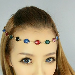 Bohemian Colorful Gemstone Ribbon Hairband1